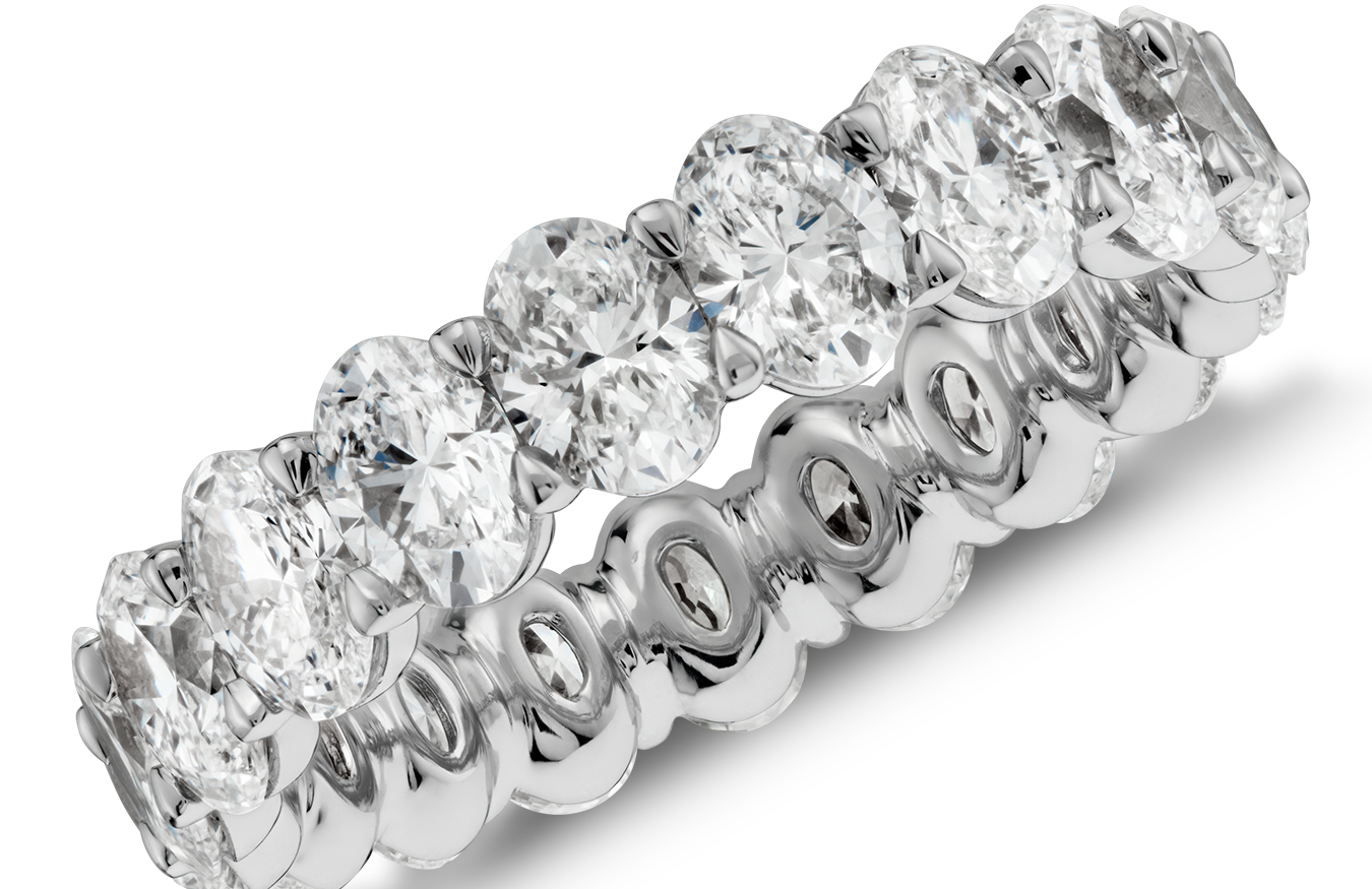 Oval-Cut Diamond Eternity Rings in Platinum