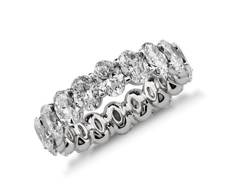 铂金椭圆钻石永恒戒指<br>(4.50 克拉总重量)