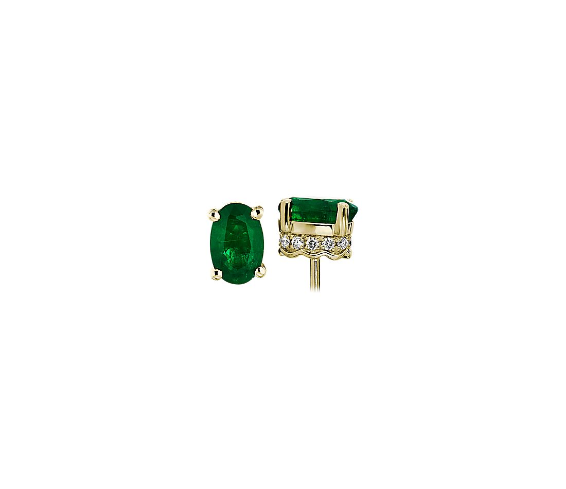 Oval Emerald and Diamond Earrings in 14k Yellow Gold