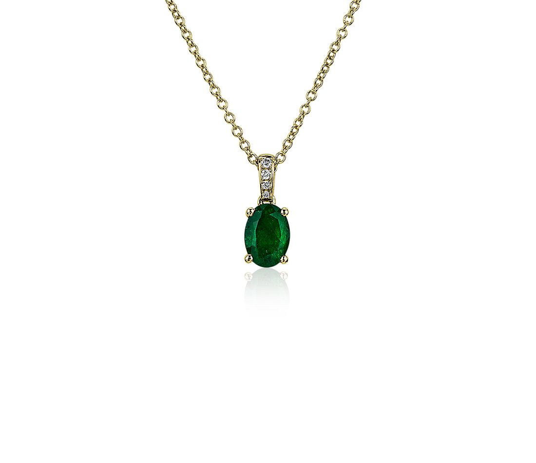 Oval Emerald and Diamond Pendant in 14k Yellow Gold