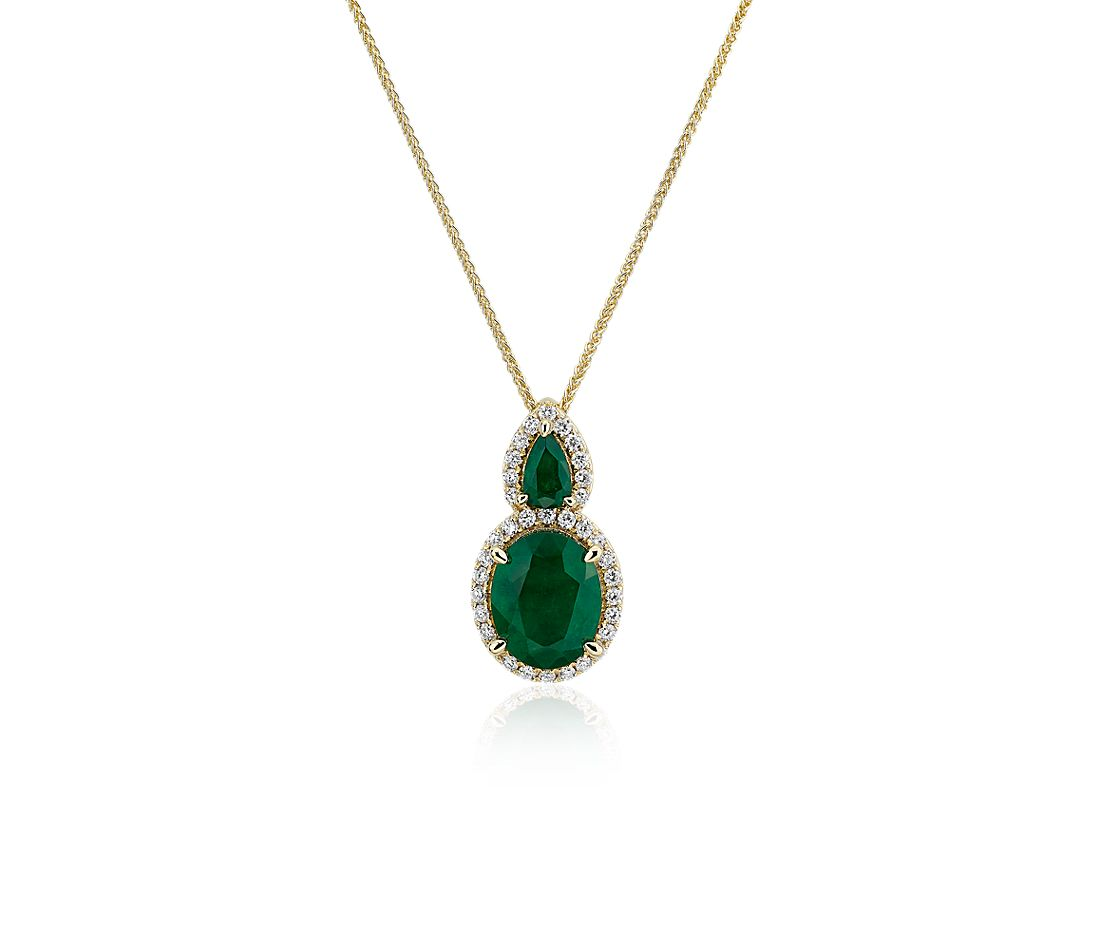 Oval Emerald and Diamond Drop Pendant in 14k Yellow Gold