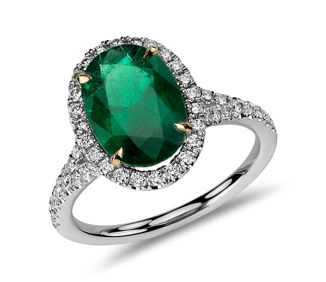 Oval Emerald and Micropavé Diamond Ring in Platinum