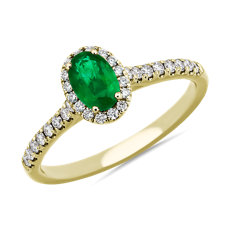 NEW Oval Emerald Halo Ring in 14k Yellow Gold (6x4mm)