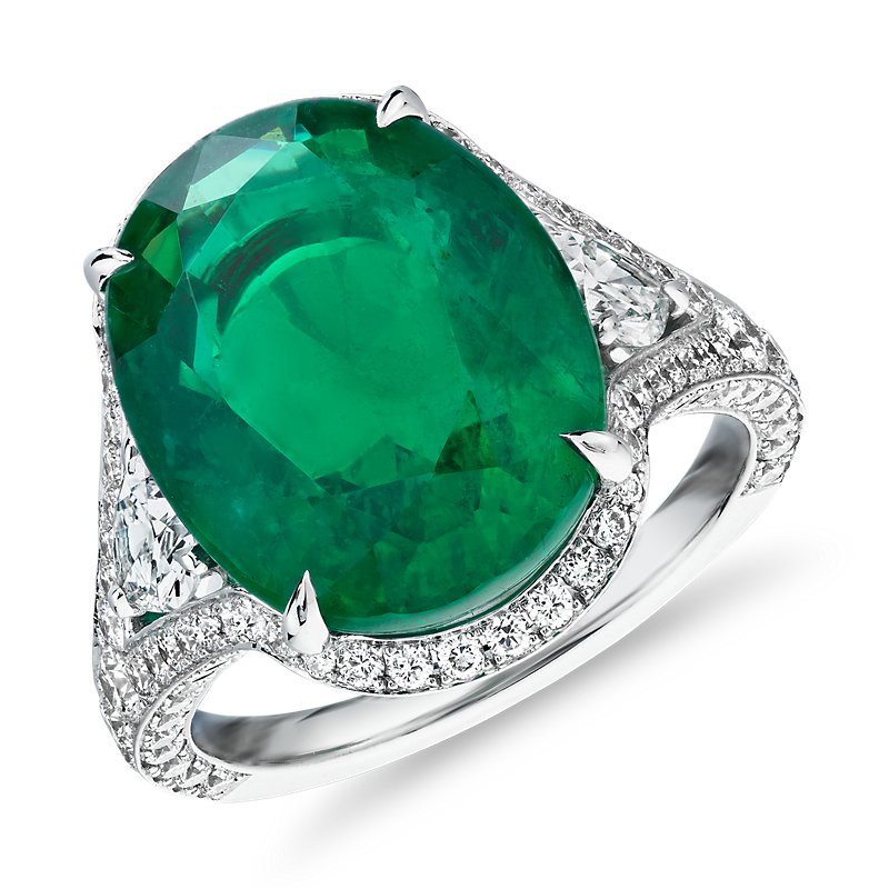 Oval Emerald Ring with Split Shank and Pear-Shaped Diamond Sidestones in 18k White Gold (8.15 ct. center)