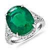 Oval Emerald Ring with Split Shank and Pear-Shaped Diamond Sidestones in 18k White Gold (8.15 ct. centre)