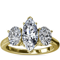 Oval Three-Stone Diamond Engagement Ring in 18k Yellow Gold (1 ct. tw.)