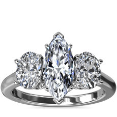 NEW Oval Three-Stone Diamond Engagement Ring in Platinum (1 ct. tw.)
