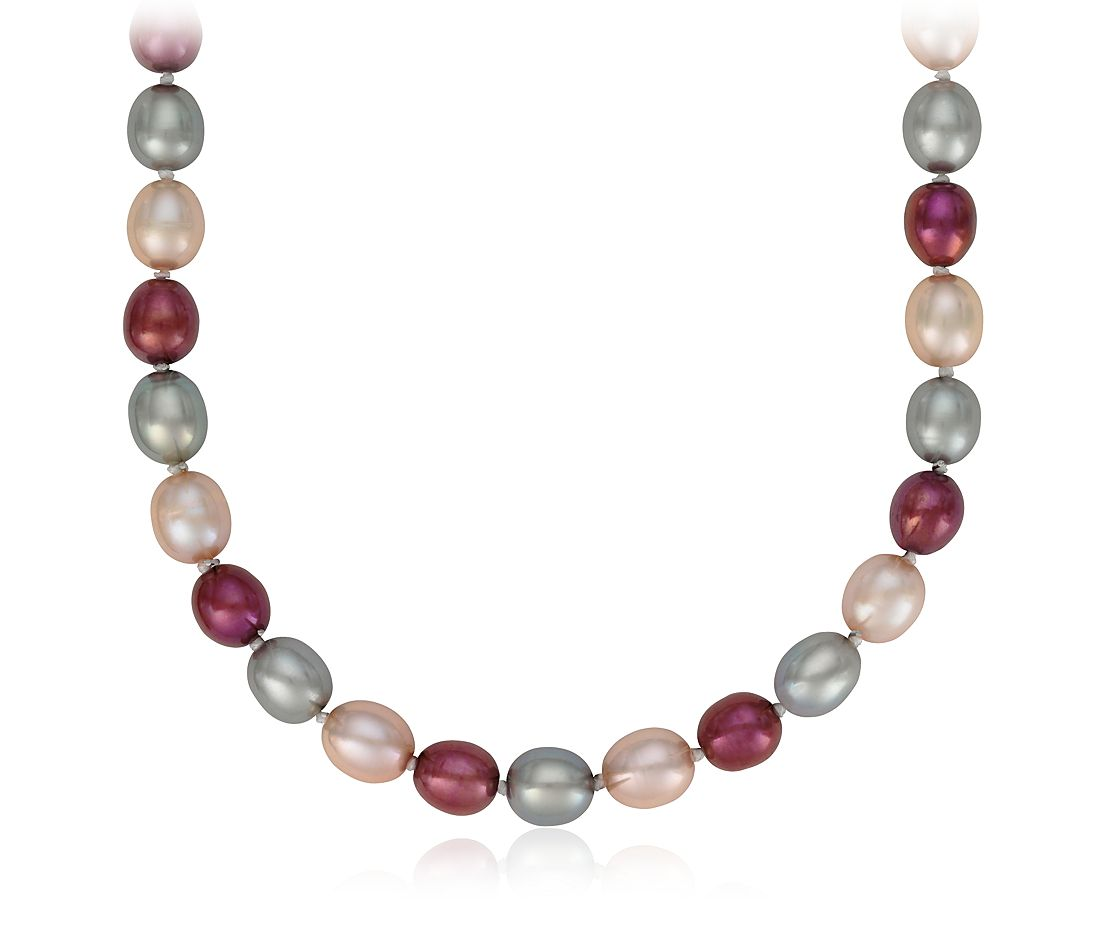 Blush Oval Freshwater Cultured Pearl Necklace with Sterling Silver - 36