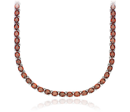 Oval Garnet Eternity Necklace in Sterling Silver (5x4mm)