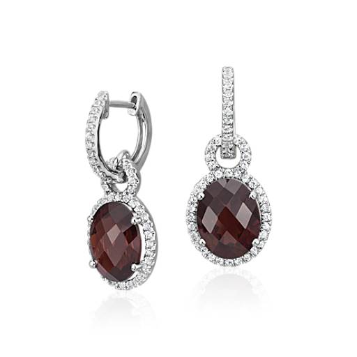 Garnet And White Shire Halo Oval Drop Earrings In Sterling Silver 10x8mm Blue Nile