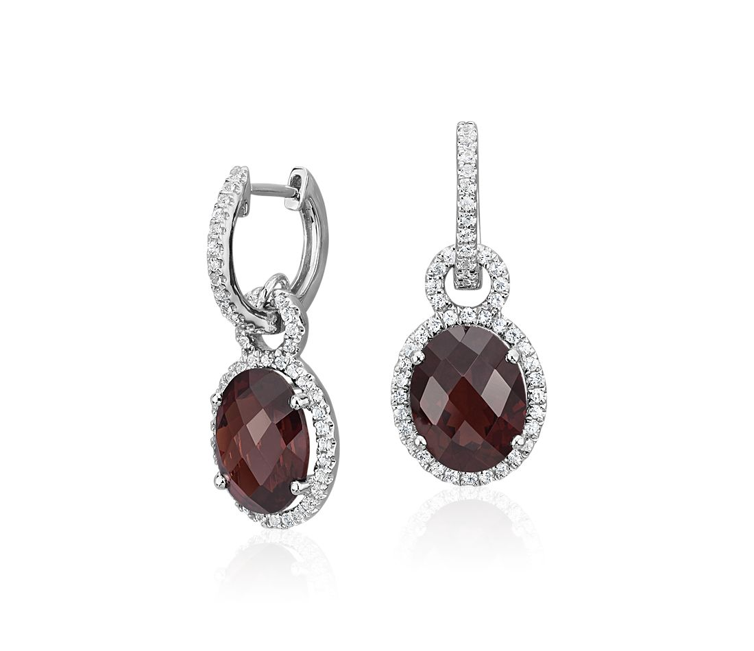 Garnet And White Shire Halo Oval Drop Earrings In Sterling Silver 10x8mm