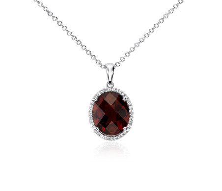 Blue Nile Garnet and White Sapphire Halo Oval Pendant in Sterling Silver (12x10mm)