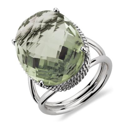 bague or quartz vert