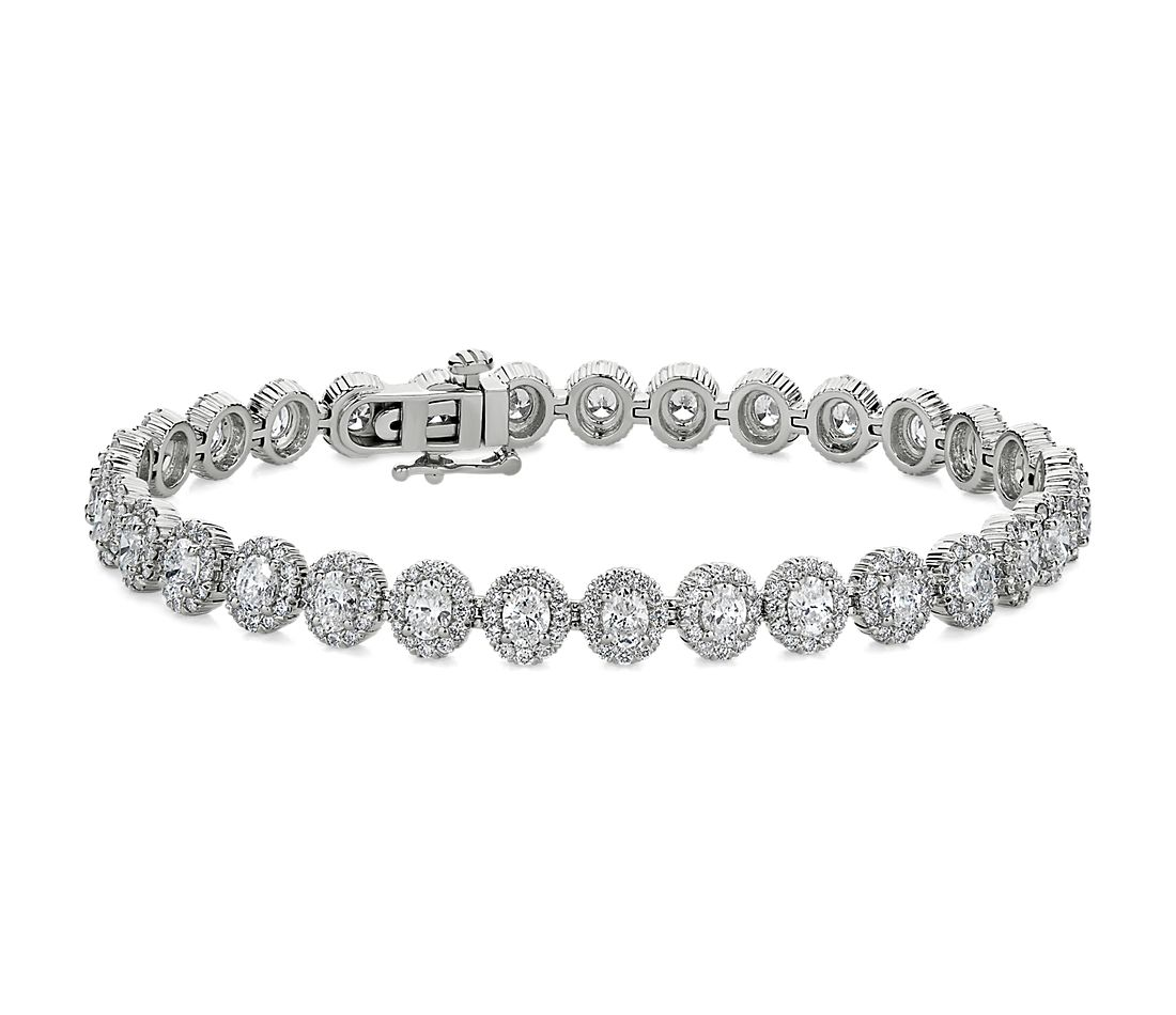 Oval Halo Diamond Tennis Bracelet in 18k White Gold (6 7/8 ct. tw.)
