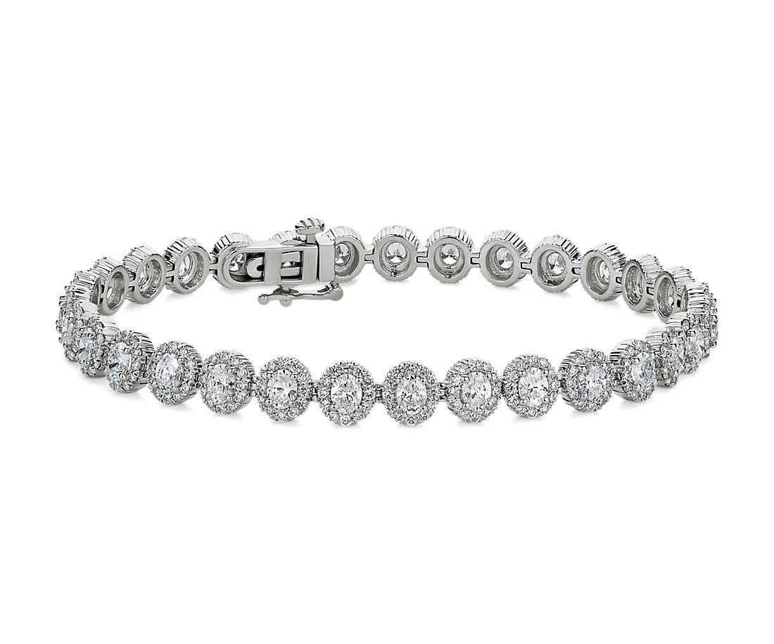 18k 白金橢圓形光環鑽石手鍊(6 7/8 克拉總重量)