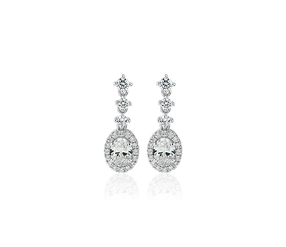 Oval Halo Drop Earrings in 14k White Gold (0.95 ct. tw.)