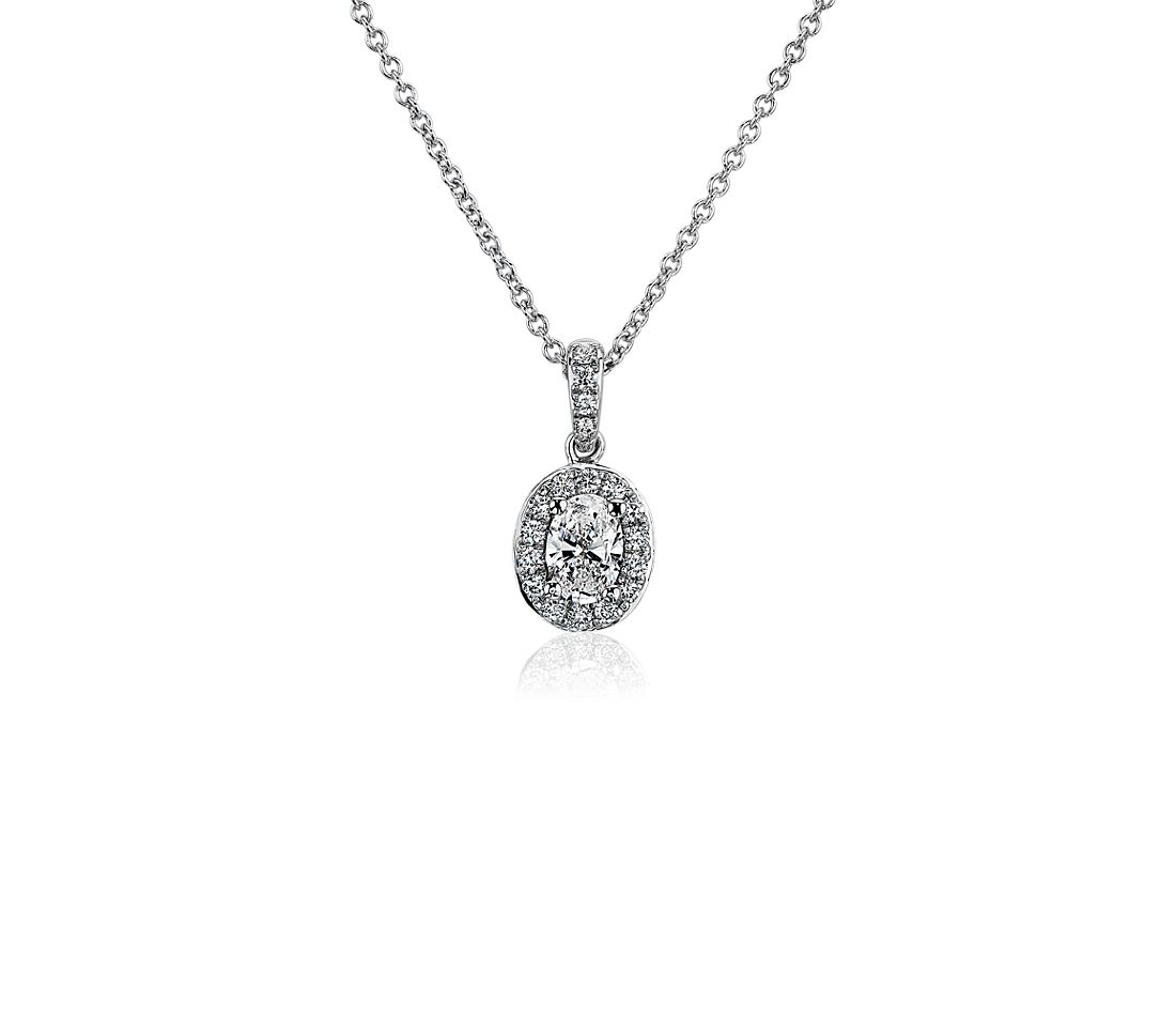 Oval Halo Pendant in 14k White Gold (0.45ct. tw.)