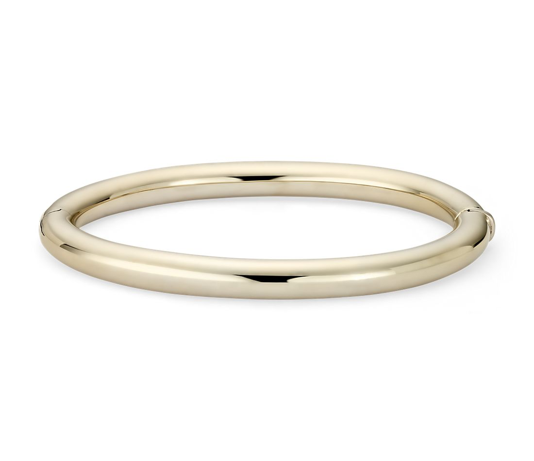 Bold Oval Hinge Bangle Bracelet In 14k Italian Yellow Gold