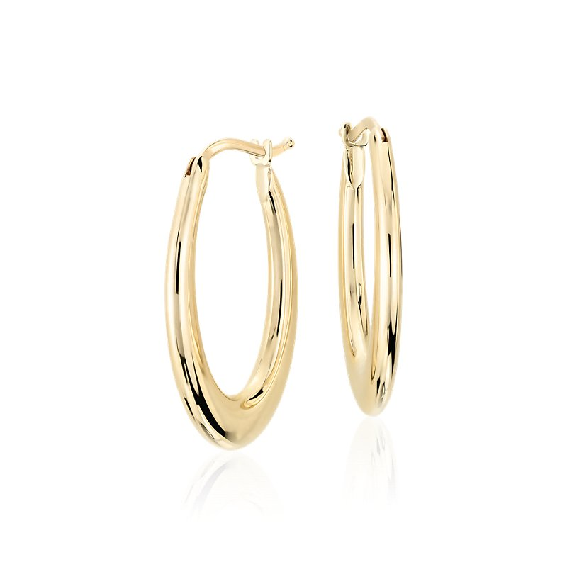 Oval Hoop Earrings in 14k Italian Yellow Gold