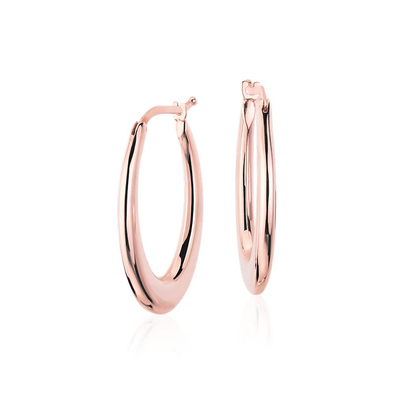 Oval Hoop Earrings in 14k Italian Rose Gold