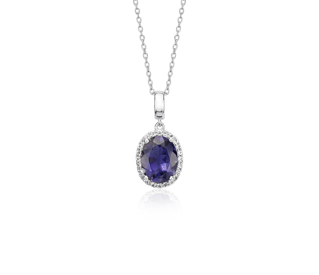 Oval Iolite and White Topaz Halo Pendant in Sterling Silver (9x7mm)