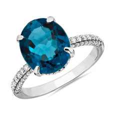 Oval London Blue Topaz Statement Ring in 14k White Gold