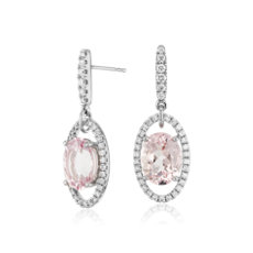 Oval Morganite and Diamond Drop Earrings in 18k White Gold (10x8mm)