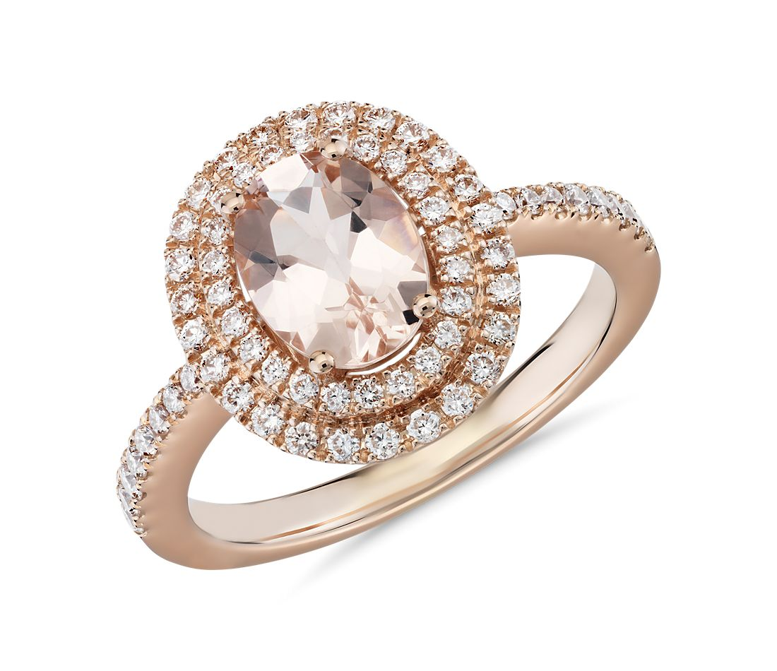 Oval Cut Morganite And Diamond Double Halo Ring In 18k
