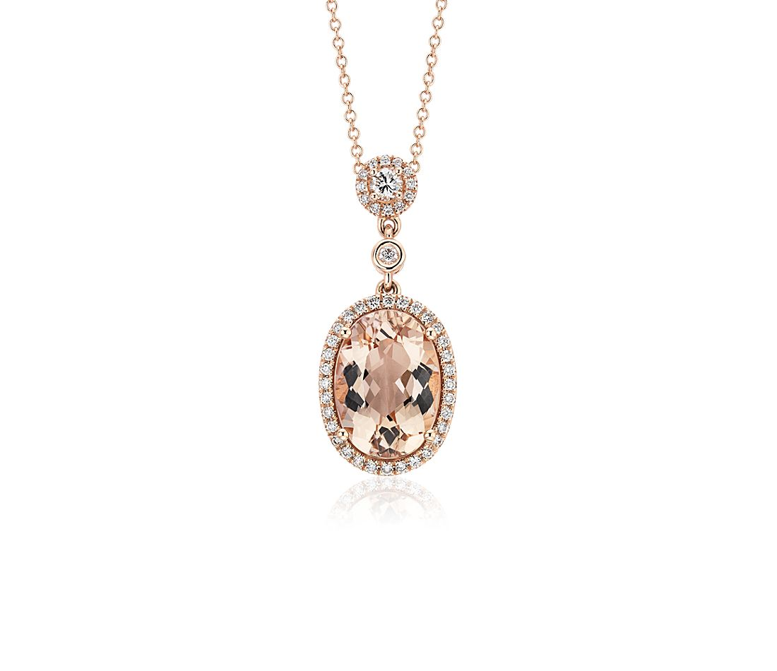 Oval Morganite Pendant with Diamond Halo in 18k White Gold