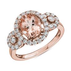 Oval Morganite Ring with Diamonds in 14k Rose Gold