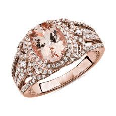 Bague morganite ovale avec halo de diamants ornementé en or rose 14carats