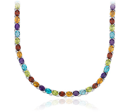 Oval Multicolor Gemstone Eternity Necklace in Sterling Silver (5x4mm)