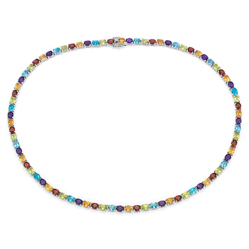 Oval Multicolor Gemstone Eternity Necklace in Sterling Silver (5x