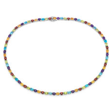 Oval Multicolour Gemstone Eternity Necklace in Sterling Silver (5x4mm)