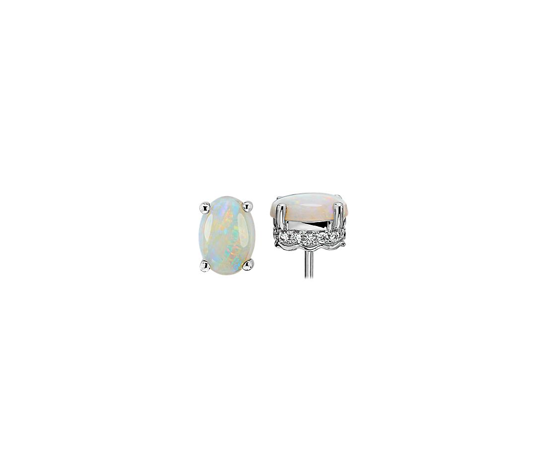 Oval Opal and Diamond Earrings in 14k White Gold (7x5mm)
