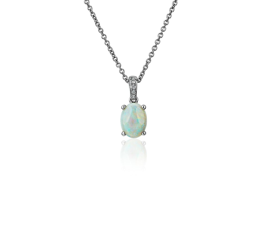 Oval Opal and Diamond Pendant in 14k White Gold (8x6mm)