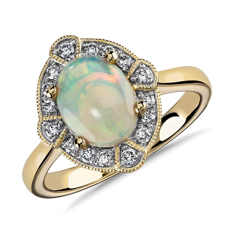 Oval Opal and Diamond Milgrain Ring in 14k Yellow Gold 9x7mm