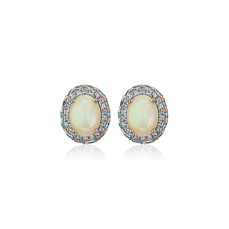Oval Opal Earrings with Blue Topaz and White Sapphire Halo in 14k