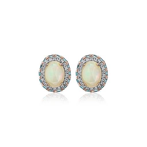 Curvy silver Blue Opal earrings Open backed stone cabochon jewelry Oval sky blue gemstone earrings throat chakra