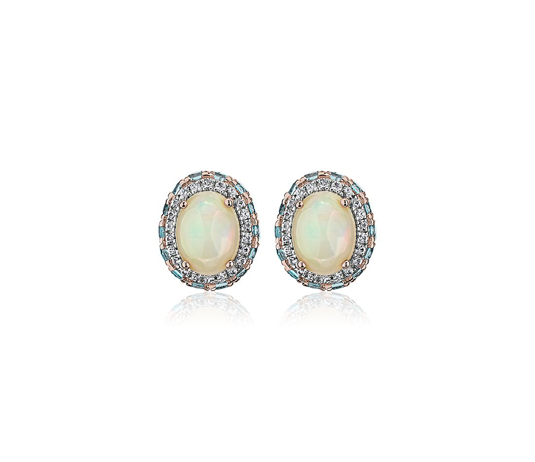 Oval Opal Earrings with Blue Topaz and White Sapphire Halo in 14k Rose Gold