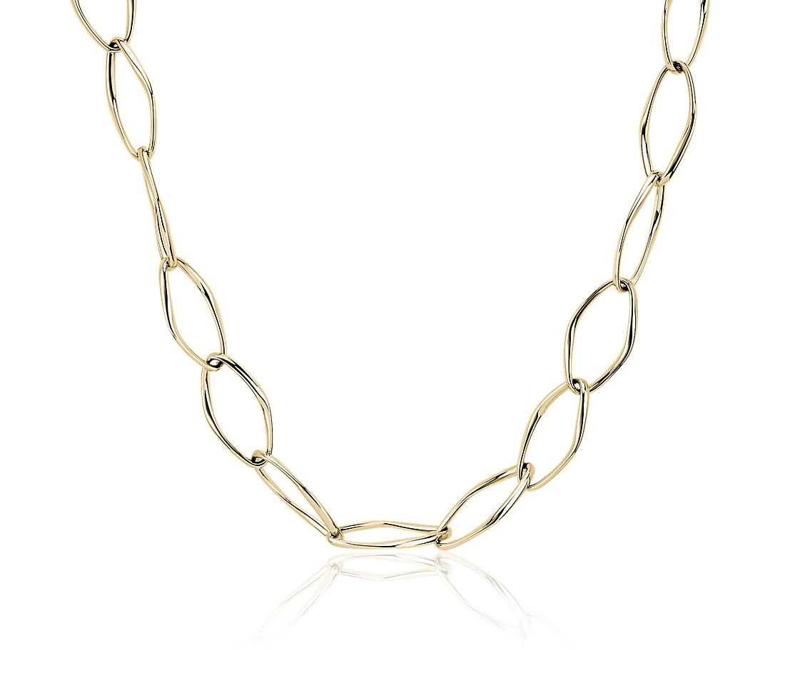 Oval Open Chain Necklace in 18k Italian Yellow Gold