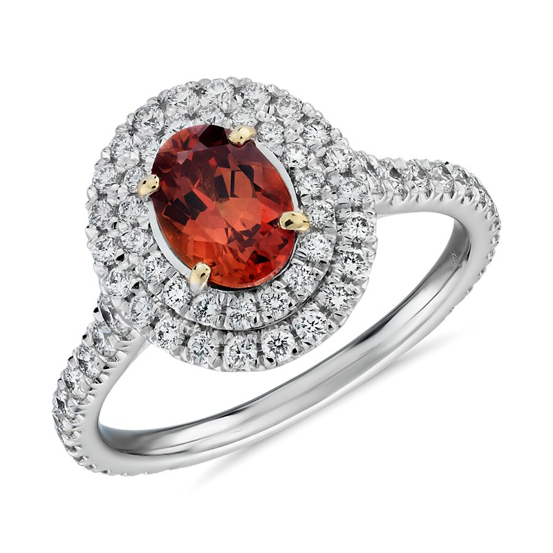 Oval Orange Sapphire Ring with Double Diamond Halo in 18k White a