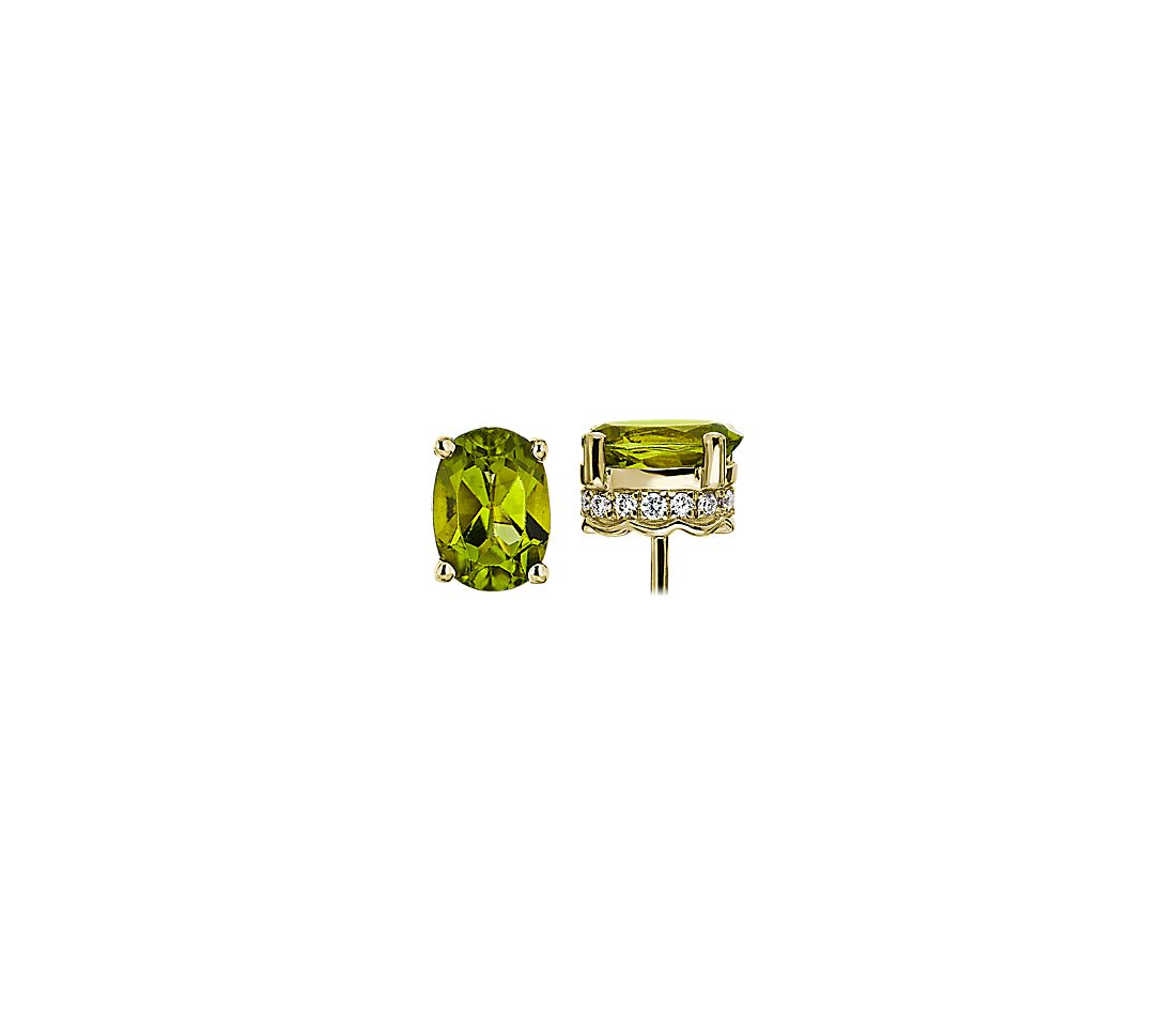 Oval Peridot and Diamond Earrings in 14k Yellow Gold (7x5mm)