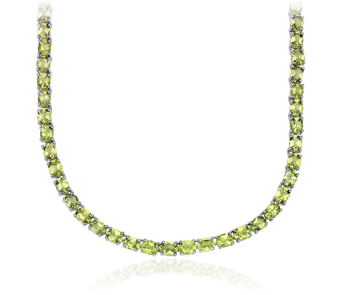 Oval Peridot Eternity Necklace in Sterling Silver (5x4mm)