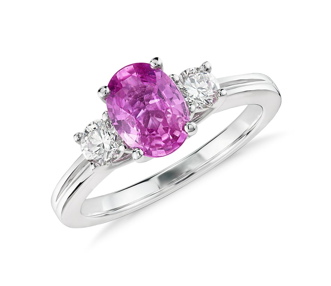 Oval Pink Sapphire and Diamond Ring in 18k White Gold