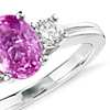 Oval Pink Sapphire and Diamond Ring in 18k White Gold (8x6mm)