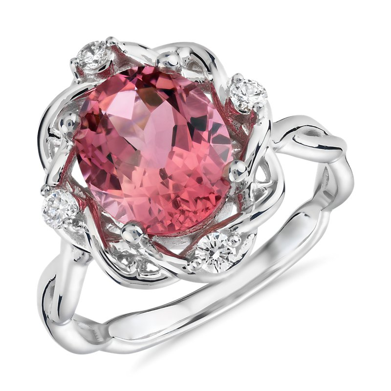 Oval Pink Tourmaline and Diamond Weave Ring in 18k White Gold (10