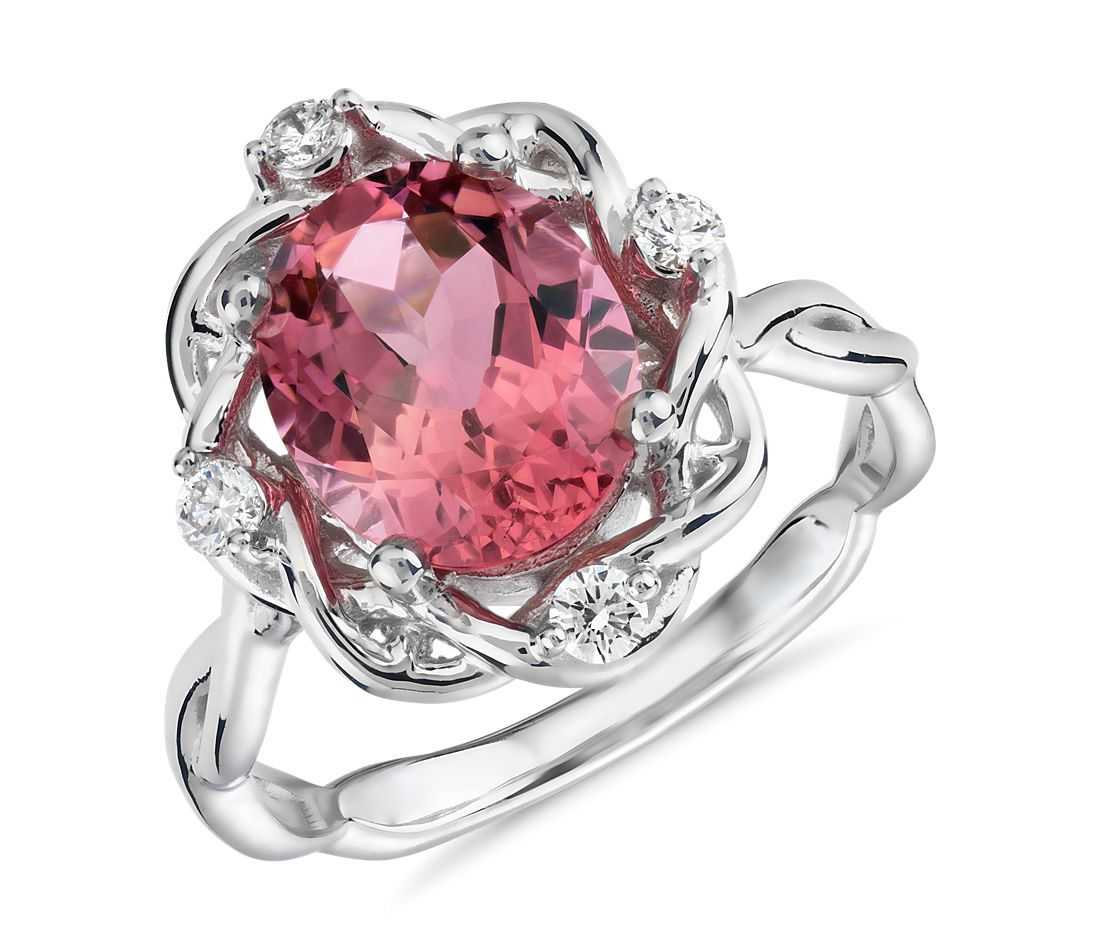 Oval Pink Tourmaline and Diamond Weave Ring in 18k White Gold (10x8mm)