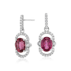 Oval Pink Tourmaline and Diamond Halo Drop Earrings in 18k White Gold (9x7mm)