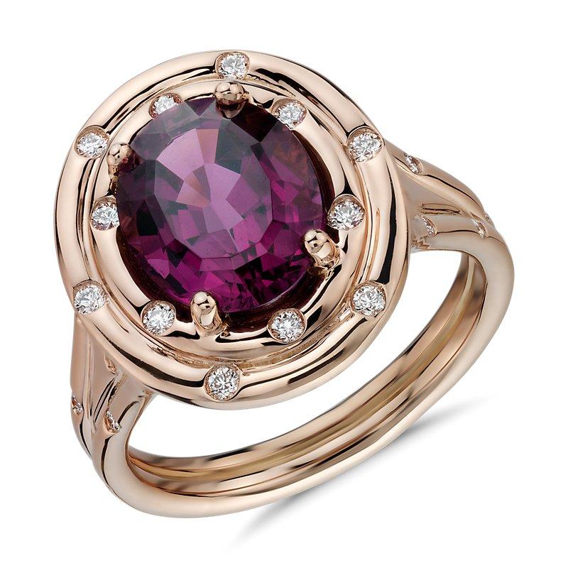Oval Rhodolite Garnet with Starlight Diamond Halo in 18k Rose Gol